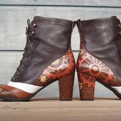 Lovers' Spat handpainted boots W8 by wingtips on Etsy, $250.00