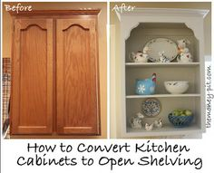 The Kim Six Fix: Tutorial: Turning Cabinets into Custom Shelves.. adding shelf brackets to the corners to make it look less like a doorless cabinet and more like a custom shelf