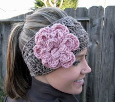 :) have one of these winter accessories, flower headbands, crochet winter headband, hair accessories, crochet headbands