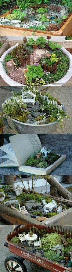 How cute... get kids involved. You could go antque; resale,auctions to find things to use in your mini garden! Repurposing at its best.