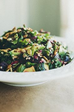 beet greens chopped salad with sunflower seeds.
