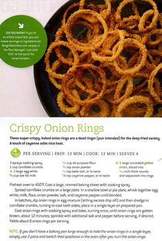 Baked onion rings weight watchers points plus=4