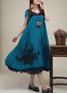 Blue cotton dress original dress Folk style clothe maxi dress  linen dress casual skirt cotton skirt Hand-painted dress plus size dress 16