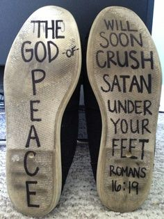 Crush satan under your feet tattoo ideas, pointe shoes, jesus, christ, inspir, camp songs, bible verse shoes, flat shoes, roman