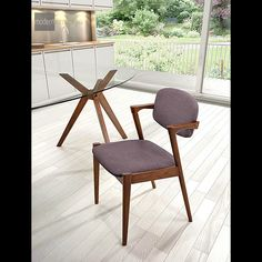 Clean solid lines define the Brickell Dining Chair. It is a modern chair reminiscent of retro styles.