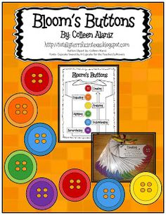 """Totally Terrific in Texas:  """"Bloom's Buttons"""" - Perfect way to incorporate Bloom's Taxonomy and to encourage higher-level thinking! classroom, idea, blooms taxonomy, teacher stuff, reading comprehension, bloom button, bloom taxonomi, buttons, educ"""