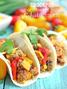 Crockpot Quinoa and Sweet Potato Fajitas