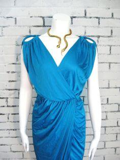 blue wrap goddess dress