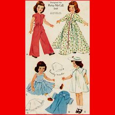 1950's Vintage Doll Clothes Sewing Pattern by VintageViolette, $19.99