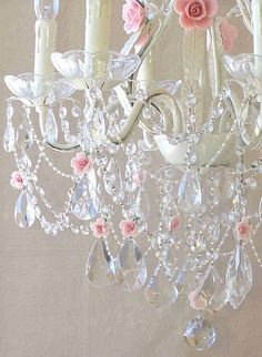 Crystal & pink rose Chandelier