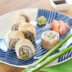 California Sushi Rolls: If your kids are craving sushi for dinner, skip the Japanese restaurant and show them how to roll up a batch at home. ~ we love doing this in my house!