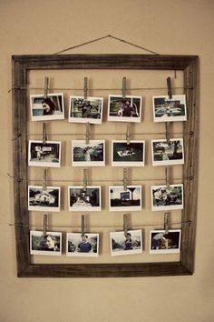 i love this!   what you'll need:   string a frame  clothes line pins  photos!   *itll work better if you use a hot glue gun to glue the pictures to the clothes pins to guarantee they don't fall off:)