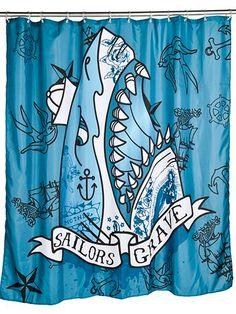 """Sailors Grave"" Shower Curtain by Too Fast (Blue) #InkedShop #shark #showercurtain #curtain #bathroom #decor"