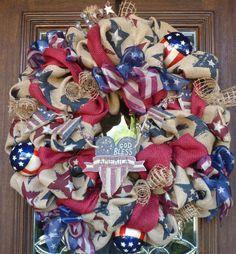 Patriotice Burlap Wreath; Great for summer Decor!