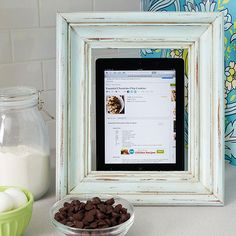 Frame your tablet when baking for an easy Christmas decoration! Find more how-tos here: http://www.bhg.com/christmas/crafts/handmade-gifts-for-friends/?socsrc=bhgpin091414frametabletstand&page=2