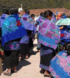 Maya women attending the festival of San Sebastian, Chiapas in January wear a variety of beautiful capes. Photo  by Karen Elwell
