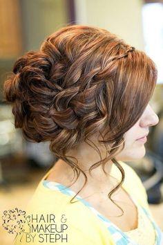 bridesmaid hair, color, wedding updo, curl, prom hair, wedding hairs, bridal hair, hairstyl, waterfall braids