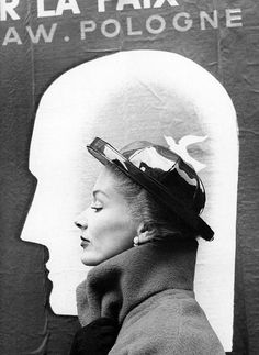 Richard Avedon: Lisa Fonssagrives modeling a Schiaparelli hat. Harper's Bazaar, October 1948. hats, model, fashion, richard avedon, lisa fonssagr, harper bazaar, elsa schiaparelli, octob 1948, eye