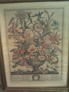 1900's Framed Antique Engraving of Flowers by H. by PurpleHazeDayz, $42.00