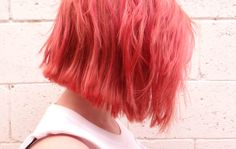 Pastel red haircolor.