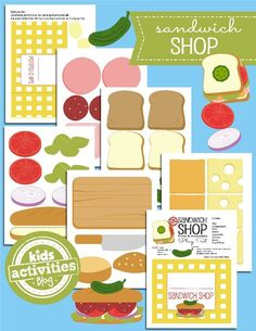 transfer paper, paper craft printables, sandwich shop, kid activities, printabl toy, foam crafts, printables kids activities, free kids printables, play food