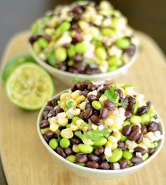 Black Bean, Corn, and Edamame Salad with Cilantro and Lime Dressing