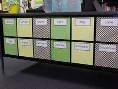 LOVE THIS!!! This will be my birthday display. I finally found a use for the front of my desk! I will take pictures of the students in groups (i.e. all the January bdays together). Each student will hold a number indicating their birthday. I will glue the photos to the squares. I made the squares out of scrapbook paper by cutting each piece down to 8 x 8 inches. I made the labels, printed them out, and glued them on.