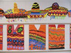 Ponchos & Sombreros costumes, poncho, colors, mexico, sombrero, project ideas, the holiday, cinco de mayo, art rooms