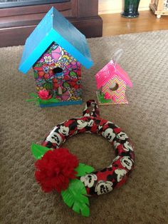 Duck Tape birdhouses and wreath!