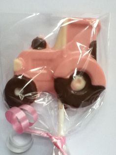 pink girl tractor birthday party lollipop favor  www.sandipops.com
