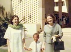Young Barack Obama with his mother and grandmother