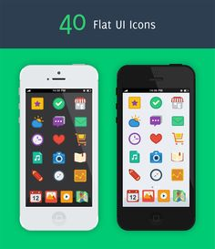 An iphone preview of 40 flat ui icon graphicriver item. # Flat UI Icons  # flat ui