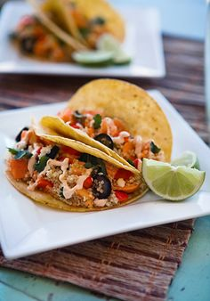 Sweet Potato Quinoa Tacos with Chipotle Sauce from @Allison Ruth of Some the Wiser