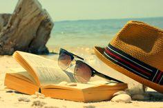 lazy beach reads books, beaches, beach read, sunglass, summer, sea, shade, fedora, hat