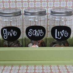 Great way to teach the kids saving and money management! 50% Live (spending money) 40% Save, 10% Give. Stresses the importance of saving and giving to charity! It's been working great with my boys.  They have a little math practice too!