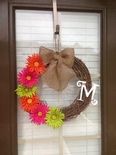 Monogram Wreath on Vine with Daisies