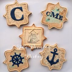 Antiqued Nautical Monogram Cookie Set | Cookie Connection