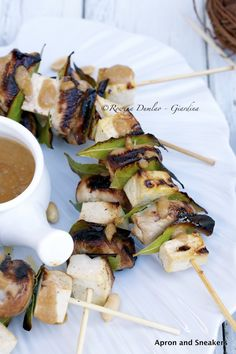 Apron and Sneakers - Cooking & Traveling in Italy and Beyond: Chicken and Tofu Skewers With Peanut Sauce #EZTofuPress
