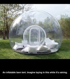 An inflatable lawn tent..