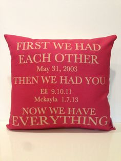Moms Everything Pillow-  mothers day, wedding date, children birth dates, anniversary gift, birthday, valentines day, fathers day via Etsy