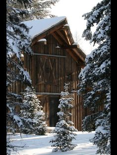 This barn scene would make a beautiful backdrop for a winter wedding.