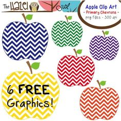 FEATURED IN THIS WEEK'S NEWSLETTER!  Use these cute little apples to dress up your classroom, bulletin boards, labels, or teaching materials!  This set of graphics can be used in your classroom or in products you sell.  The set includes 6 individual png files (transparent background).  Each apple is a different color and all are 300 dpi for high quality printing!