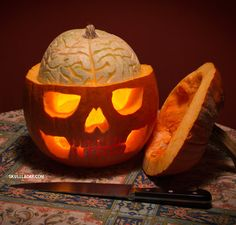 How to: Carve a Pumpkin Skull with an Exposed Squash Brain