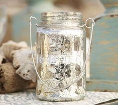 Hanging Mercury Glass Mason Jar #potterybarn    i got other lanterns and i should have gotten these.