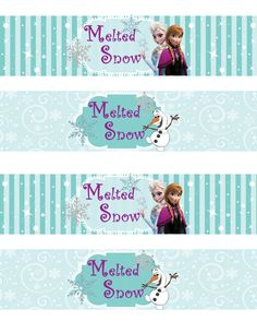 Instant Download!! Frozen Water Bottle Wrappers JPEG 300 dpi Printable Party Elsa Anna Olof, Disney movie winter snowflakes