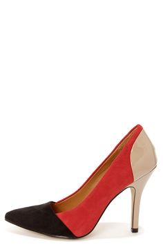Chinese Laundry Serendipity Red, Black, and Beige Pointed Pumps