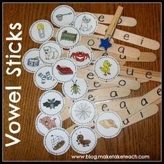 DIY Short Vowel Sticks.  Great for literacy centers as the activity has a self-checking feature.  Free pics for creating your own.