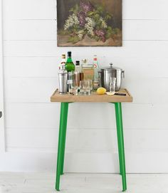 cutting board + painted aluminum legs mini bars, side tables, butcher blocks, bar tables, green, bar cart, diy idea, serving trays, home bars