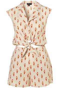 Super cute summer playsuit! Bird Print Tie  @TopShop