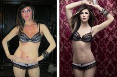 Kat Von D wearing lots of concealer over her tattoos, and the finished, retouched photo on the right. #photoshop #body #thin #skinny #ink #sephora #image #beauty #fake